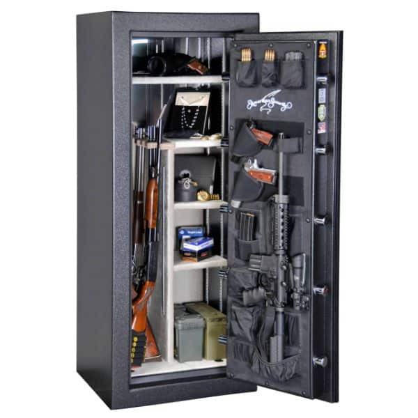 AMSEC BF6024 120-Minute Fire Gun Safes full open props and accessories