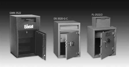 Three Gardall safe vaults products front load cash with cash drawer inside
