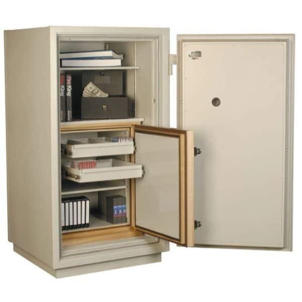 FireKing DP2150-M Mixed Media Safe full open door with props